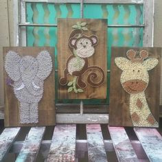 String Art Animal Set, Monkey String Art, Nail and String Art, Jungle Theme Nursery Art, Elephant Baby Shower Gift, Giraffe Nursery Decor by NailedItDesign on Etsy https://www.etsy.com/listing/460063618/string-art-animal-set-monkey-string-art