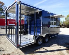 Concession Trailer Indigo Blue 8.5 X 17 BBQ Smoker Event Catering