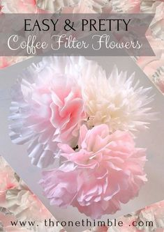 EASY & PRETTY Coffee Filter Flowers- these are so nice! Can create completely different flower shapes and colors- dip dye ombre effect- perfect for wedding centrepieces, and very inexpensive materials!Coffee Plunger Single Cup Coffee Filters No Coffee Filter Roses, Coffee Filter Wreath, Coffee Filter Crafts, Coffee Filter Art, Handmade Flowers, Diy Flowers, Fabric Flowers, Organza Flowers, Flowers Decoration