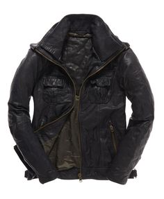 6d8fc8a9099 Shop Superdry Mens Ryan Leather Jacket in Dark Ink. Buy now with free  delivery from the Official Superdry Store.