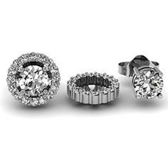 Diamond Earrings Design | 025 Carat ctw 14K White Gold Round White Diamond Removable Jackets for Stud Earrings 14 CT *** Check this awesome product by going to the link at the image. Note:It is Affiliate Link to Amazon.