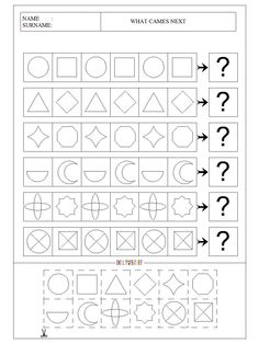 what-cames-next-workpage-worksheet-for-pre-school-children-7 Grade R Worksheets, Tracing Worksheets, Adhd Activities, Math Resources, Kindergarten Activities, Preschool Activities, Pattern Worksheet, School Goals, School Lessons