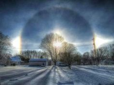 A brisk winter morning sunrise in Attica Indiana Cool Photos, Beautiful Pictures, Amazing Photos, Winter Schnee, The Sky Is Falling, Sun Dogs, Morning Sunrise, The Weather Channel, Beautiful Sunrise
