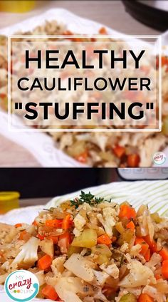 This low carb Cauliflower Stuffing can be made in the Instant Pot or in the oven, and is the perfect Thanksgiving side dish! All of the delicious stuffing flavors with less carbs and calories than you Vegan Stuffing, Low Carb Stuffing, Rice Stuffing, Stuffing Recipes, Roasted Califlower, Califlower Recipes, Rice Recipes, Veggie Recipes, Vegetarian Recipes
