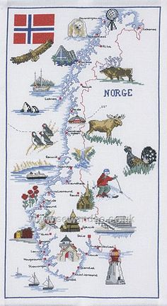 Buy Map of Norway Cross Stitch Kit Online at www.sewandso.co.uk