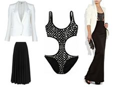 Summer attire can be tricky when it comes to dressing for two occasions in one day. Here's an ensemble that will transform your sexy beach look into a stylish evening outfit. Pair this Norma Kamali swimsuit with a Lanvin Maxi Skirt and a Stella McCartney fitted blazer for a classy cocktail party after a day in the sun. Click on the image to get this look.