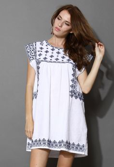 Ceramic Blue Cross-Stitch Babydoll Dress - Retro, Indie and Unique Fashion