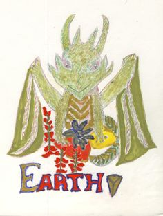 Earth Dragon by Cara E. Moore 2013 with Dragon Eye symbol, amber, carnelian, basil and Snapdragons. Colour pencil and water colour on illustration board.