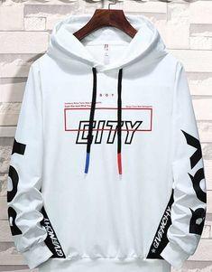 Men's white CITY letter pattern print pull over hoodies 01 Best Hoodies For Men, Stylish Hoodies, Cool Hoodies, Tommy Hilfiger Sweatshirt, Sweat Shirt, Cool Outfits, Fashion Outfits, Letter Patterns, Mens Jumpers