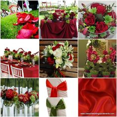 Online magazine's ideas for a red and green themed wedding.