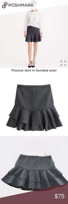 "J. Crew Flounce Skirt in Bonded Wool J. Crew Flounce skirt in bonded wool. ""The secret to this skirt's fun, flouncy shape is all in the fabric—we took a classic wool felt and bonded it to a superstructured knit. The result? A total stunner that holds its flare like a pro (and looks particularly awesome with tights and booties)."" Size 12, this skirt is fully lined with a zip back closure. Wool/polyester/viscose blend. New, never worn, tags attached. 18.5in long, falls above the knee. J. Crew…"