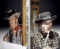 Thomas Allen creates unique three-dimensional art by cutting out characters from old pulp fiction book covers and positioning them into action scenes. Description from pinterest.com. I searched for this on bing.com/images