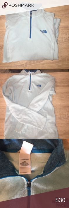 NORTHFACE baby blue fleece Beth soft baby blue half zip fleece. It's pretty light weight but still very warm and cozy! The North Face Jackets & Coats