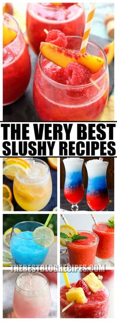 For every warm day, you need The Best Slushy Recipes! These recipes pack in the flavor and make the perfect summer beverages! Slushy Alcohol Drinks, Vodka Slushies, Wine Slushie Recipe, Candy Drinks, Alcohol Drink Recipes, Vodka Cocktails, Slush Recipes, Coctails Recipes, Shake Recipes