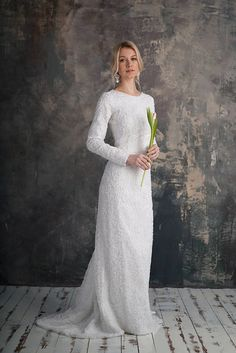 LUTTA / long sleeves wedding dress Elegant tight fit wedding dress mermaid wedding dress lace wedding gown boho dress lace white silver