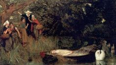 "Arthur Hughes 1872-3   The Lady of Shalott ""Under tower and balcony,  By garden-wall and gallery,  A gleaming shape she floated by,  Dead-pale between the houses high,  Silent into Camelot.  Out upon the wharfs they came,  Knight and burgher, lord and dame,  And round the prow they read her name,  The Lady of Shalott"