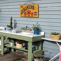 A great cast iron sink potting bench becomes my outdoor kitchen with f…