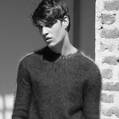 Many pictures of soft and fuzzy angora and mohair men's and women's sweaters including vintage and retro. Mohair Sweater, Wool Sweaters, Men Sweater, Black And White Pictures, Sweater Fashion, Hot Boys, Male Models, Erotic, Sweaters For Women