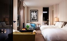 Sophisticated guest room at Rosewood London// hotel design, modern decor