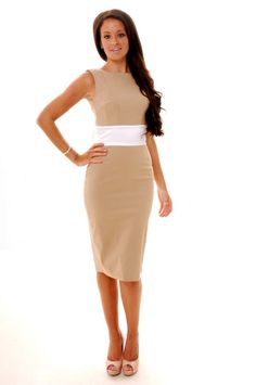 Camel And Cream Riviera Backless Bow Pencil Dress    Price:£89.00