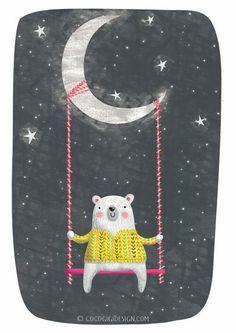 Polar bear, moon and stars - print- ganache - Iphone Wallpaper Art And Illustration, Polar Bear Illustration, Bear Art, Cute Characters, Nursery Art, Art For Kids, Wallpaper, Prints, Pattern