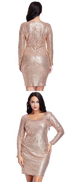 5f87f9bce9a Grapent Women s Plus Size Sequin Cocktail Sheath Short Dress Bodycon Long  Sleeve Rose Gold 22W