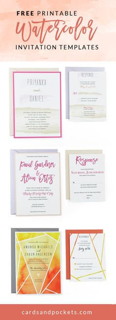 FREE Invitation Templates | DIY watercolor wedding invitations with these printable  templates! Pairs well with pockets and envelopes. | http://www.cardsandpockets.com/freeweddinginvitationtemplates.aspx