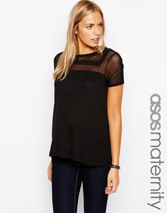 ASOS Maternity Sheer and Solid Top