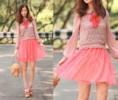 Sheinside Chiffon Crochet Blouse, Gotta Neon Pink Tulle Skirt, Kate Spade Elephant Basket, Opening Ceremony Chunky Mary Jane