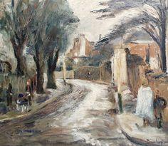 Ronald Ossory Dunlop – Street in Wimbledon after rain; Oil on canvas, 51x61cm