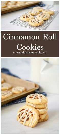 Cinnamon Roll Cookies - Tara's Multicultural Table- A light, buttery cookie dough is covered in a layer of cinnamon sugar, rolled, and cut into swirl-shaped cookies. #recipe #cookie #cookies #cinnamonrollcookies #cinnamonroll #dessert #cinnamonsugar