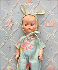 Looks like a doll my Mom would have had! Vintage Doll In Bunny Pajamas Japan by ivorybird on Etsy