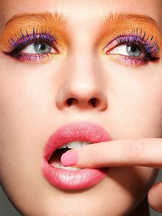 Orange & Blue Eye Makeup by tastychocolatecurls, via Flickr