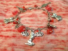 SALE Red Pin Up Girl Charm Bracelet by ThePaperPoppyStore on Etsy