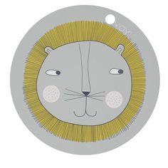 OYOY - Spisebrikke - Grå med løve / Place Mat
