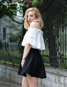 Get the best summer look inspiration.  How to style off shoulder crop top? Top is from #romwe Check my new post!    https://theninebyivana.blogspot.com/2017/05/crochet-off-shoulder-top-and-black-skirt.html
