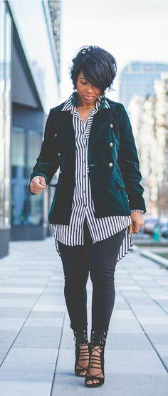 Blazer, velvet, Stripe top, Black leggings, open toe booties, velvet blazer, sweeneestyle,legging, indy blogger
