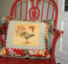 One of a Kind Hand Painted French Country Rooster Gingham Pillow