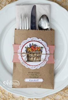 A Thanksgiving place setting using the Basket of Wishes stamp set and Kraft Tag a Bag Gift Bags -- by Amy O'Neill
