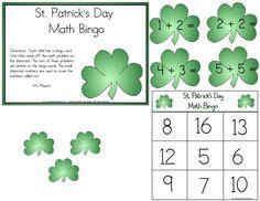 St Patrick's Day Shamrock Math Bingo Learning by Crayonbox Learning