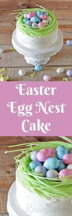 Easter Egg Nest Cake. This is a cake that anybody can decorate - it's super easy, yet still beautiful and impressive! Click over for all the details.