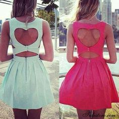 dress heart on the back cut-out cut out dress short dress mint pink sleeveless dress skater dress heart cute dress cut offs dresw blue cutout pink dress blue dress amazing wonderful cute cool heart dress Unique Prom Dresses, Sweet 16 Dresses, Backless Prom Dresses, Homecoming Dresses, Cute Dresses, Short Dresses, Summer Dresses, Graduation Dresses, Vestidos Neon