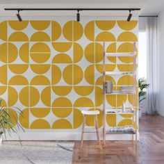 Mid Century Modern Geometric 04 Yellow Wall Mural Wallpaper by The Old Art Studio - X Mid Century Decor, Mid Century Design, Mid Century Wall Art, Mid Century Modern Wallpaper, Mod Wall, Removable Wall Murals, Diy Home Decor On A Budget, Yellow Walls, My Living Room