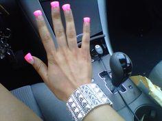 missmy summer jersey nails <3 #spikebangle hot pink duck feet