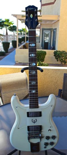 Another RARE gem available at Jesse Gago Guitars. A 1963 Epiphone Crestwood in original Polaris White finish.