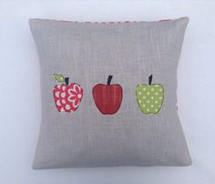 "Apples cushion cover, free motion applique, linen, Amy Butler cotton, 16""…"