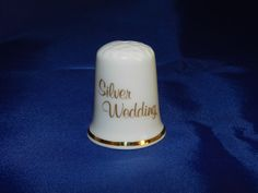 Silver Wedding Anniversary Thimble - Enesco - Porcelain/ Back: Silver Bells