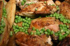Return to Me Oh Chicken Vesuvio! Chicken Potatoes, Roasted Potatoes, Vesuvio Restaurant, Chicken Vesuvio, Italian White Wine, Golden Chicken, American Dishes, Italian Chicken, Frozen Peas