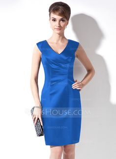 Sheath/Column V-neck Knee-Length Ruffle Zipper Up Cap Straps Sleeveless No Dark Navy Summer General Plus Satin Mother of the Bride Dress