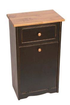 Amish Pine Flat Top Trash Bin with Drawer- Dutchcrafters